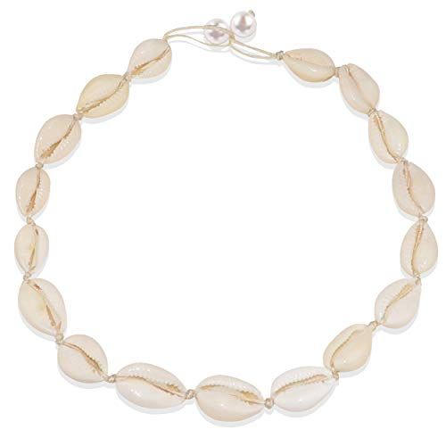 Gleamart Shells Necklace White Natural Beach Shell Choker Necklace for Women Pearl White