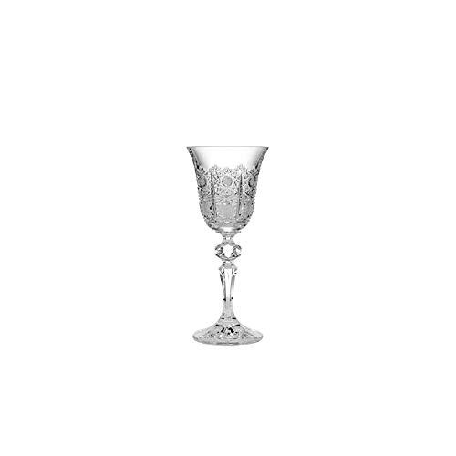 Czech Bohemian Crystal Set of 6 Stem Liqueur Glasses 2oz./60ml. Hand Cut Elegant Vintage Lace Design Vodka Sherry Brandy Whiskey Classic Holiday Gift Wedding Birthday Housewarming Anniversary