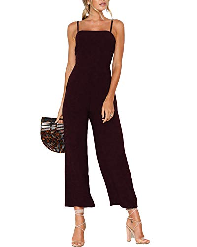 YOINS Femme Combinaison Pantalon Élégante Combishort Sexy Débardeur Bretelles Pantalon Taille Haute Jumpsuit Été Nouveau-Bordeaux S