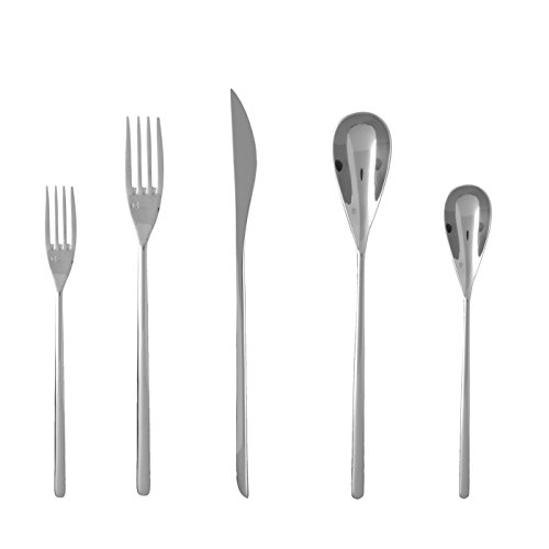 Fortessa Dragonfly 18/10 Stainless Steel Flatware, 5 Piece Place Setting, Service for 1
