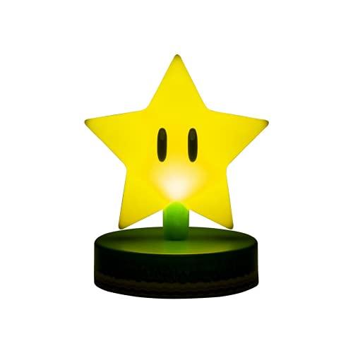 Paladone Mario Super Star 3D Icon Light BDP   Producto Oficial Coleccionable Nintendo   Idea de Regalo único   Luz Nocturna Brillante o lámpara de Escritorio   Funciona con 2 Pilas AAA, Amarillo