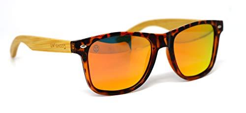 Óculos de Sol de Acetato com Madeira Maranzano Turtle Orange