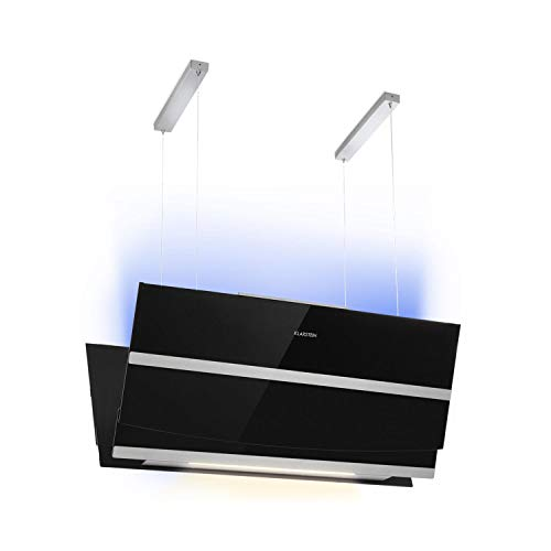 Klarstein Prism afzuigkap - eilandkap, 720m³ / h, energie-efficiëntieklasse A, boosterfunctie, aanraakbediening, LCD-display, timer, RGB-kleuren, converteerbaar naar recirculatiemodus, zwart