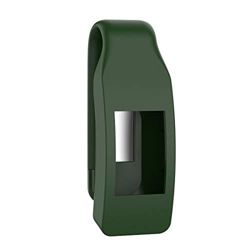 Qw Inteligente Reloj de Silicona Clip Botón Funda Protectora for el Fitbit Inspire HR (Verde del ejército) Agradable