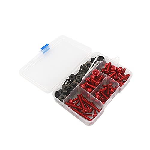 YBMY Accesorios para Motocicletas CNC Aluminio Alemania Completo Perno de aleje Kits Bodywork Tornillos Ajuste para Yamaha YZF R1 R1M R15 R5 R3 R6 R125 R15 R25 R25 (Color : Red)