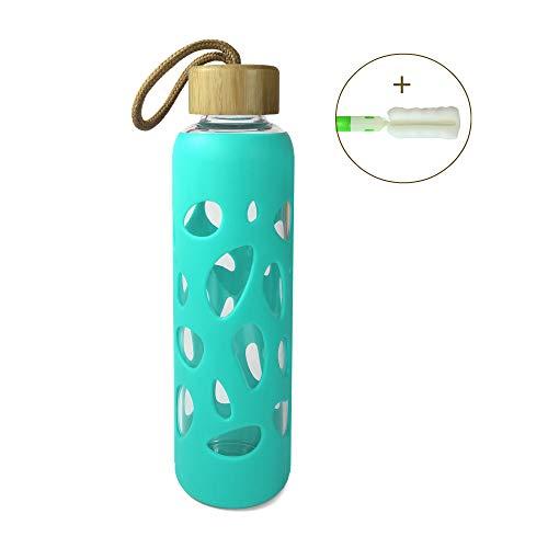 Wenburg Cantimplora Botella de Cristal con Tapa de bambú 550 ml, Cubierta de Silicona. Botella Deportiva/Botella de Agua de Vidrio. para Llevar. para té, Agua, Batidos (Turquesa, 0,55 l)