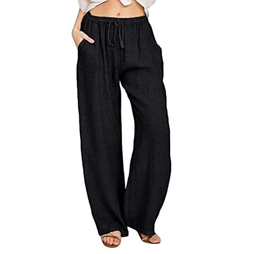 FMYONF Pantalones de lino para mujer, de un solo color, pernera ancha, pantalones de verano transpirables y cómodos, pantalones de verano, pantalones de ocio, cintura elástica Negro M