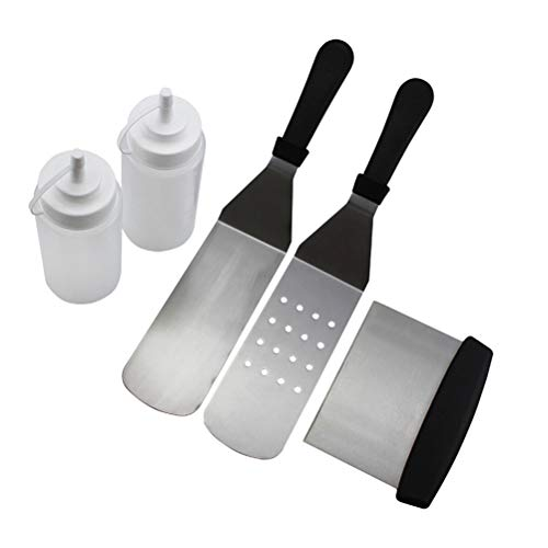 Buy Discount UPKOCH 5pcs Barbecue Tool Set BBQ Spatula Slotted Turner Salad Squeeze Bottle Stainless...