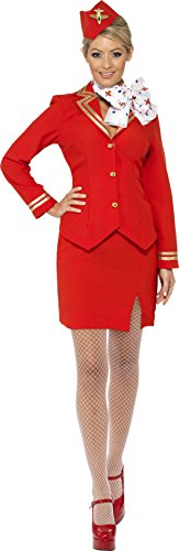 Smiffys Costume hôtesse de l'air, rouge, avec veste, jupe, écharpe et coiffe