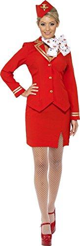 Smiffys Disfraz de azafata del carrito, rojo, con chaqueta, falda, bufanda y gorro