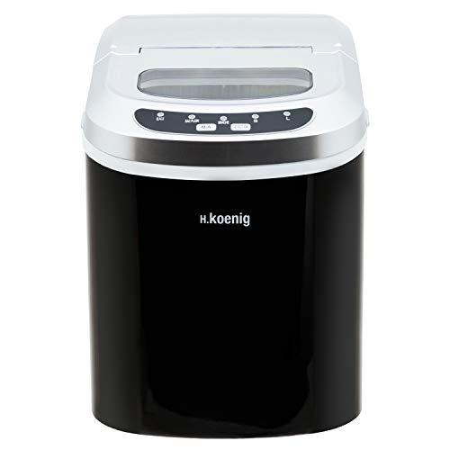 H.Koenig KB12 Eiswürfelmaschine KB12-ca. 12 kg Eiswürfel pro Tag, Produktionszeit 6-13 min. -2 Eiswürfelgrößen-Wasserstandsanzeige, 90 W schwarz, Edelstahl