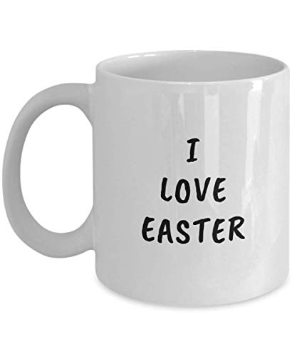 Taza de café divertida de Pascua de 325 ml, con texto en inglés 'I Love Easter – regalo único inspirador de humor sarcasmo regalo para amigos adultos hombres y mujeres