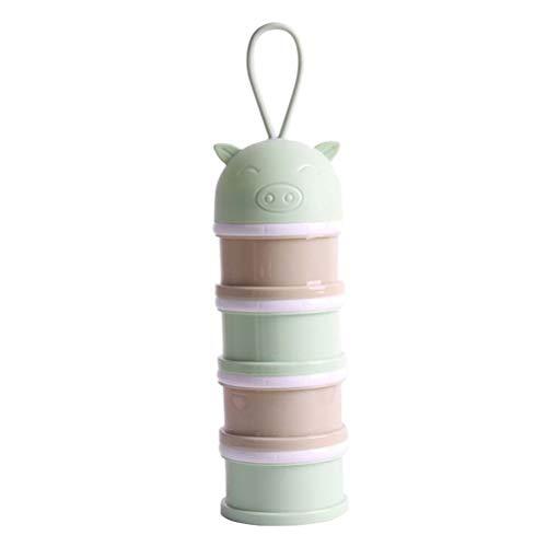 STOBOK Milchpulver Portionierer Milchpulver Dispenser 4 Schichten Formula Behälter Vorratsbehälter für Baby Stapelbar (Grün)