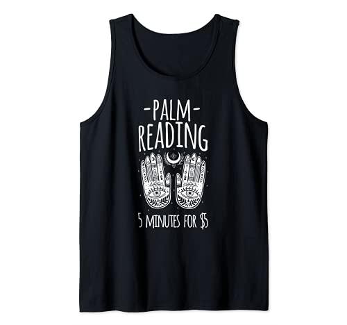 Lectura de la palma de Halloween Bruja Diseo Gitano Fortune Teller Camiseta sin Mangas