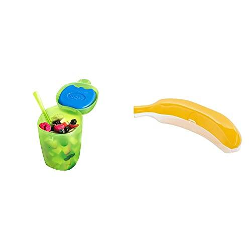 Snips Fruit Ice-Contenitore per Frutta con Ghiaccio, Verde Trasparente, 0,50 Lt & 021270 Salva Banana-Contenitore Salvafreschezza D'Asporto, Giallo