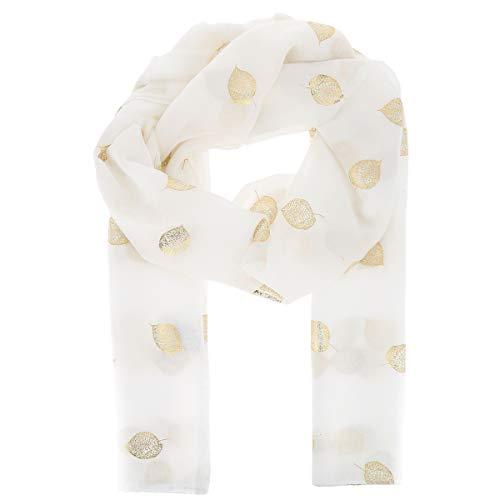 Pañuelo Mujer estampado Hoja Dorada 20% Algodón 80% Viscosa Blanco - Maxi Bufanda Ligera Larga y Rectangular 180cm x 70cm - Foulard Original Brillante Moderno y de Moda - Fular Boho