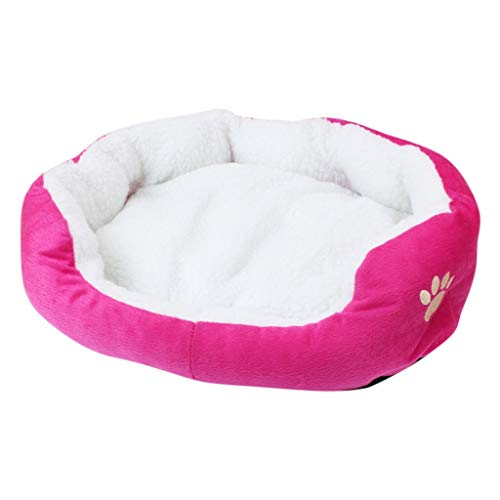 Kalmerende Bed Plush Paw Sofa Hondenmand Waterproof Bottom Soft Fleece Warm Cat Bed Huis Manden Dog Tag (Color : Hot Pink, Size : M)