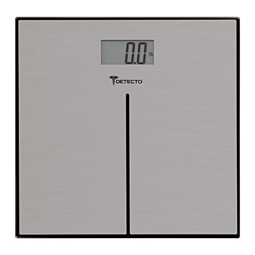 Detecto D133 Deluxe Modern Stainless Steel Body Weight Bathroom Scale, Digital LCD Display, 400lb Capacity