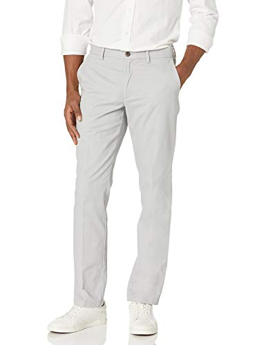Amazon Essentials Slim-Fit Wrinkle-Resistant Flat-Front Chino casual-pants, Light Grey, 35W x 34L