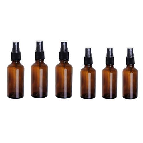 Minkissy 6 Pcs Bouteilles en Verre de Pulvérisation 30 ML 50 ML Vide Presse Brouillard Atomiseur Huile Essentielle Parfum Liquide Bouteilles Maquillage Lotion Toner Distributeur Conteneurs