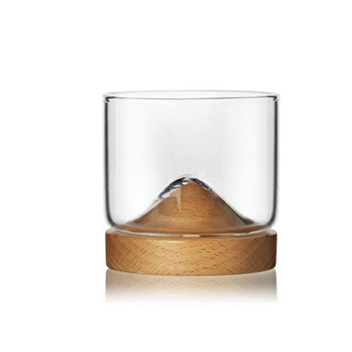 DOROCH Transparenter Berg Whiskyglas mit Holzbasis Kreative Hitzewiderstandsfähige Bierglas Wein Wasser Teetasse Set Bar Drinkware (Color : B1)