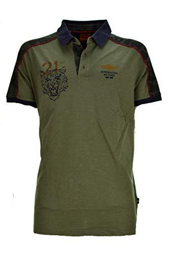 Aeronáutica Militar Polo PO1447J Verde Militar Jersey Hombre Camisa 07226 Verde Militare M
