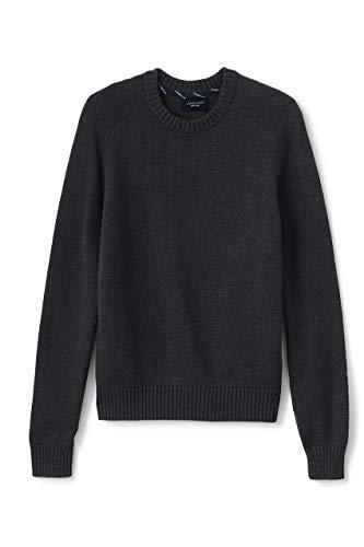 Lands' End Mens Drifter Crewneck Sweater Dark Charcoal Heather Regular Small