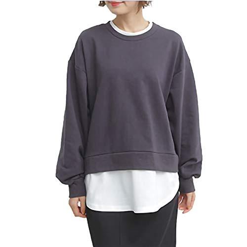 Blusa de manga larga para mujer, con cuello redondo, suelta, falsa de dos piezas en la espalda, cárdigan con cordones