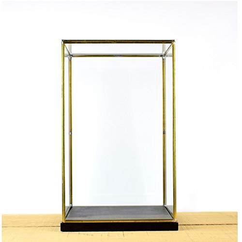 EMH handgemaakte glazen en messing metalen frame vitrine doos met zwarte houten voet 42 cm