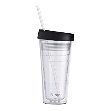 Ninja Coffee Bar 18-Ounce Double-Wall Tritan Hot & Cold Tumbler with Sip & Straw Lid (CF18TBLRS)