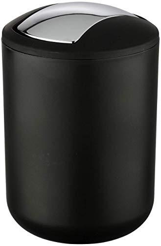 Wenko Brasil Cubo con Tapa 2 L, Elastómero Termoplástico (TPE), Negro, 14x14x21 cm