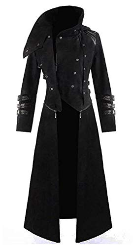 Mens Black Tailcoat Jacket Gothic Steampunk Victorian Halloween Costume Long Coat Men's Vintage Frock Uniform (X-Large, Black)