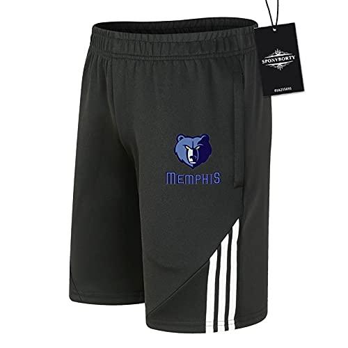 SPONYBORTY de Los Hombres Sudor Corto Verano Grizz-lies Pantalones Cortos Algodón Corto Baloncesto Trotar Traje Colocar/Negro/XS