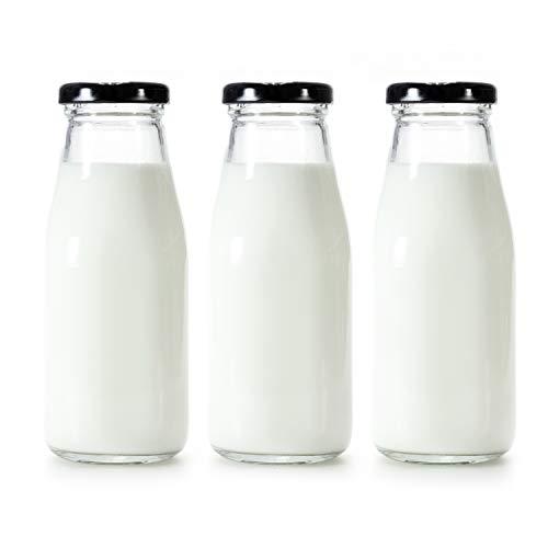 Danmu Art 3 botellas de leche de vidrio de 250 ml con tapas negras bonitas para decoración