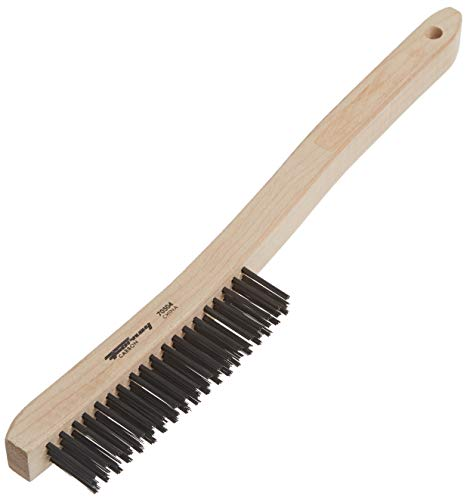 Forney 70504 Wire Scratch Brush with Curved Wood Handle