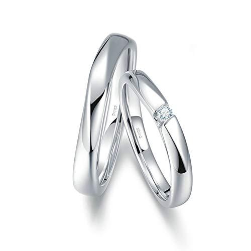 AnazoZ Anillos 2PCS Anillos Compromiso Mujer Hombre Oro Blanco 18K Anillos Redondo Pulido con Diamante Blanco 0.02ct Plata Talla Mujer 18,5 & Hombre 22