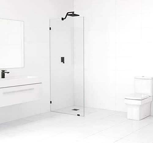 "Glass Warehouse GW-SFP-30-MB Frameless Shower Door-Single Fied Panel with Enduroshield Glass-Coating, 78"" x 30', Matt Black"