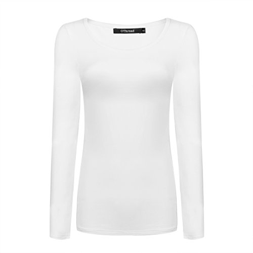 OThread & Co. Women's Long Sleeve T-Shirt Scoop Neck Basic Layer Spandex Shirts (Medium, White)