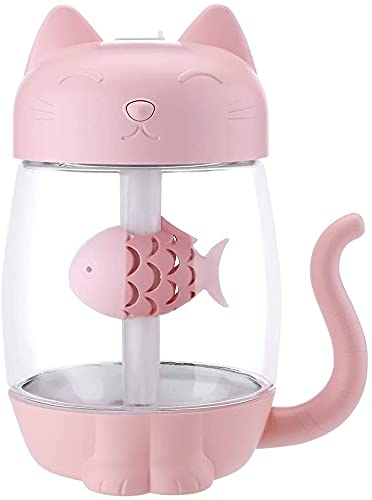 Humidificador de Plantas 350ML Humidificador de Aire para Gatos con luz LED de Color Ultrasónico 3 en 1 Adorable Cat Eat Fish Humidificador USB Difusor de Aromas Nebulizador (Color: Rosa)