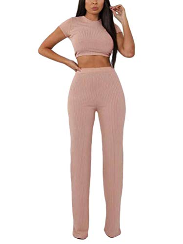 Minetom Damen 2 Stücke Set Outfit Sport Yoga Fitness Bodycon Slim Jogginganzug Sportanzüge Jumpsuit Sommer Kurzarm Crop Top + Leggings Hose Rosa 34