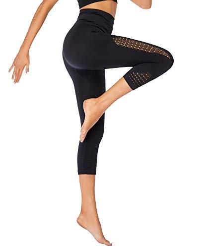 Eono by Amazon - Caprihose Damen Dreiviertel Hose Sport Leggings 3/4 Sporthose Yogahose Spitze 7/8 Jogginghose Laufhose Trainingshose Large - Schwarz