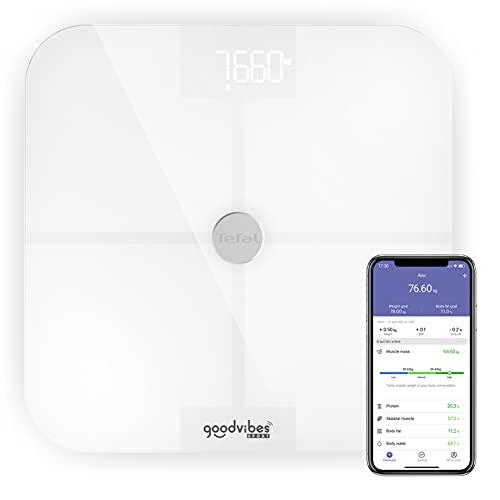 Tefal Goodvibes Sport BM9640S1 - Báscula conectada con 13 medidas corporales indicadores corporales, aplicación conectada fácil de usar, número ilimitado de usuarios, capacidad 180 kg