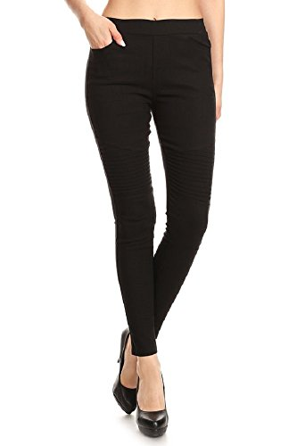 Jvini Women's Pull-On Ultra Stretch Slimming Jegging Pants Denim Jean (Small, Black-010)