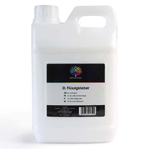 OfficeTree Bastelkleber Transparent Trocknend - 2 Liter Bastel Kleber - Lösungsmittelfreier Flüssigkleber für Kinder geeignet