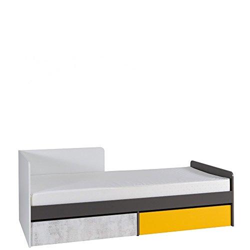 Furniture24 Bett Bruno Jugendbett 90 x 200 cm Bettgestelle mit 2 Schubladen (Ohne Matratze)