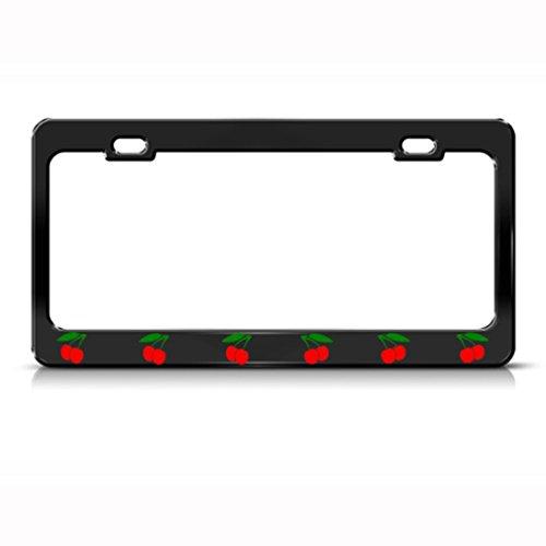 Speedy Pros Metal License Plate Frame Cherry Car Accessories Black 2 Holes