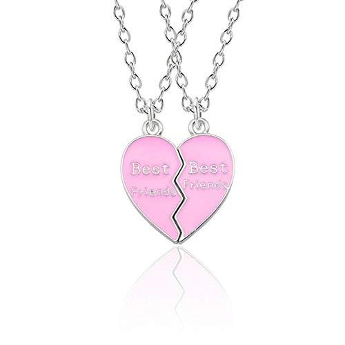 Collar 2 Unids/Set Best Friends Collar Tai Chi Crown Rainbow Broken Heart Collar para Mujeres BFF Amistad Pareja Joyería Collier Regalo Wc186Pk