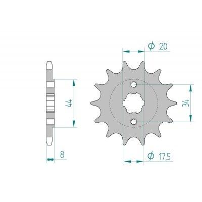 AFAM Ritzel Teilung 520 Zähne 15 für Kymco MXU 50 AC, A10030, Bj. 2011 | Maße Welle: 17,5/20mm | Lochkreis Sicherungsblech: 34mm | Höhe/Versatz: 8mm