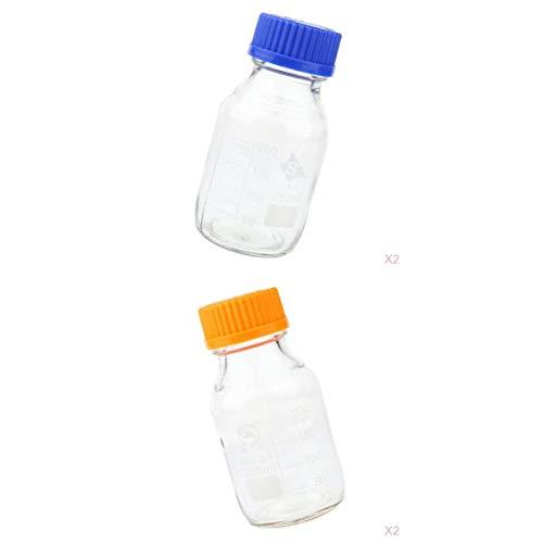 SDENSHI 4 Stücke Labor Klare Reagenzflasche Graduierte Glasflasche mit Schraubkappe, 250ml