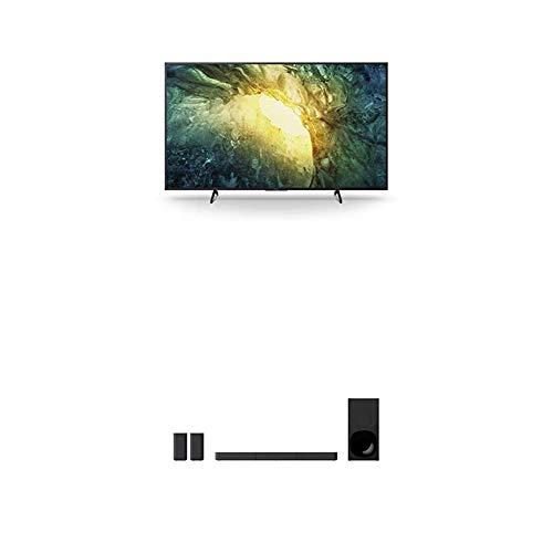 Sony KD-55X7055 Bravia 139 cm (55 Zoll) Fernseher (LED, 4K Ultra HD (UHD), High Dynamic Range (HDR), Smart TV, 2020 Modell) Schwarz + 5.1.-Kanal-Soundbar (inkl. kabelgebundenem Subwoofer) Schwarz